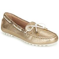 Chaussures Femme Mocassins Geox D LEELYAN C Doré / Blanc