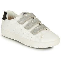 Chaussures Fille Baskets basses Geox J SILENEX GIRL B Blanc / Argenté / Noir