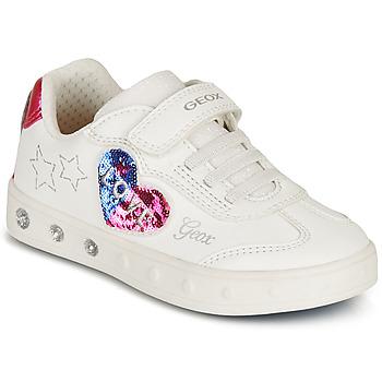 Chaussures Fille Baskets basses Geox SKYLIN GIRL Blanc / Noir / Rose