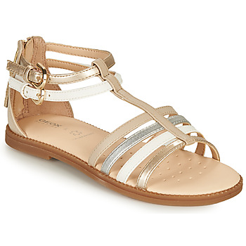 Chaussures Fille Sandales et Nu-pieds Geox SANDAL KARLY GIRL Beige / Argenté / Blanc