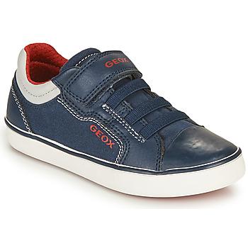 Chaussures Garçon Baskets basses Geox GISLI BOY Marine / Rouge