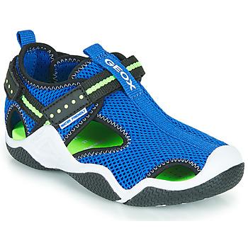 Chaussures Garçon Sandales sport Geox JR WADER A Bleu  / Vert