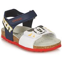 Chaussures Garçon Sandales et Nu-pieds Geox SANDAL CHALKI BOY Marine / Blanc