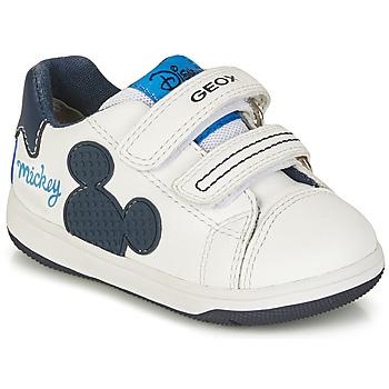 Chaussures Garçon Baskets basses Geox B NEW FLICK BOY A Blanc / Bleu