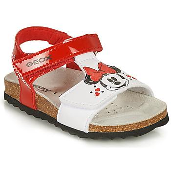 Chaussures Fille Sandales et Nu-pieds Geox SANDAL CHALKI GIRL Rouge / Blanc