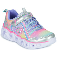 Chaussures Fille Baskets basses Skechers HEART LIGHTS RAINBOW LUX Argenté / Rose