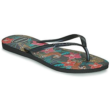 Chaussures Femme Tongs Havaianas SLIM TROPICAL Noir / Gris