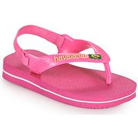 Chaussures Fille Tongs Havaianas BABY BRASIL LOGO II Rose