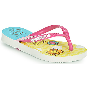 Chaussures Fille Tongs Havaianas KIDS SLIM HELLO KITTY Blanc