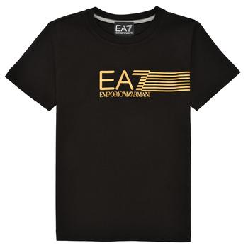 Vêtements Garçon T-shirts manches courtes Emporio Armani EA7 3KBT54-BJ02Z-1200 Noir / Doré