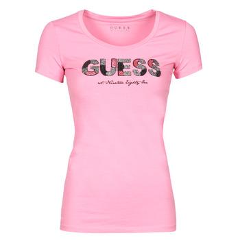 Vêtements Femme T-shirts manches courtes Guess SS RN MARTINA TEE Rose