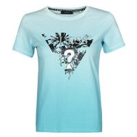 Vêtements Femme T-shirts manches courtes Guess SS CN PALMS TEE Bleu