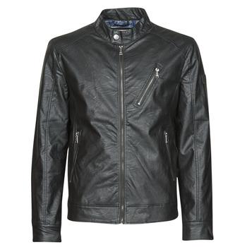 Vêtements Homme Vestes en cuir / synthétiques Guess ECO LEATER VINTAGE BIKER Noir