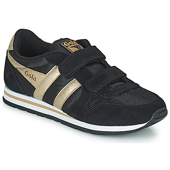Chaussures Fille Baskets basses Gola DAYTONA MIRROR VELCRO Noir / Doré