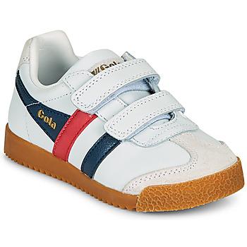 Chaussures Enfant Baskets basses Gola HARRIER LEATHER VELCRO Blanc / Marine / Rouge