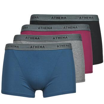 Sous-vêtements Homme Boxers Athena BASIC COTON  X4 Gris / Bordeaux / Bleu / Noir
