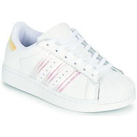 Chaussures Fille Baskets basses adidas Originals SUPERSTAR J Blanc / Iridescent