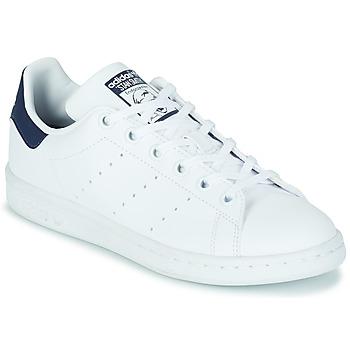 Chaussures Enfant Baskets basses adidas Originals STAN SMITH J ECO-RESPONSABLE Blanc / Marine vegan