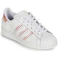 Chaussures Fille Baskets basses adidas Originals SUPERSTAR J Blanc / Iridescent