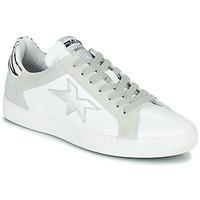 Chaussures Femme Baskets basses Meline KUC256 Blanc / Argent / Zebre