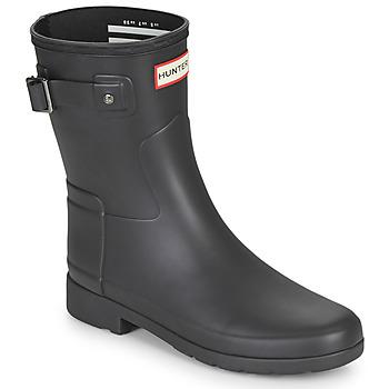 Chaussures Femme Bottes de pluie Hunter ORIGINAL REFINED SHORT Noir