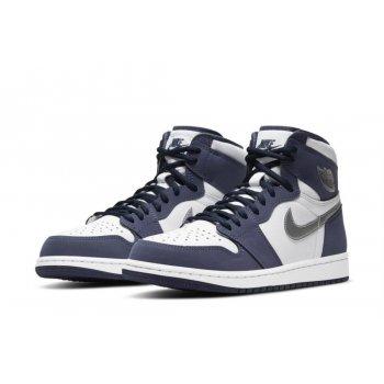Chaussures Multisport Nike Air Jordan 1 High JP Midnight White/Midnight Navy-Metallic Silver