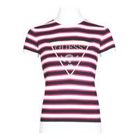 Vêtements Femme T-shirts manches courtes Guess GERALDE TURTLE NECK Noir / Blanc