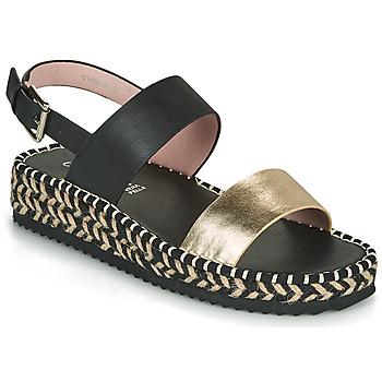 Chaussures Femme Sandales et Nu-pieds Café Noir GRISLI Noir / Doré