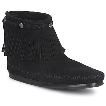 Chaussures Femme Boots Minnetonka HI TOP BACK ZIP BOOT Noir