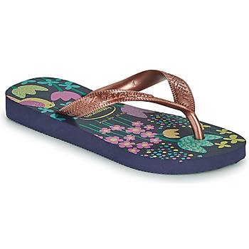 Chaussures Fille Tongs Havaianas KIDS FLORES Marine / Doré