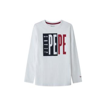 Vêtements Garçon T-shirts manches longues Pepe jeans AARON Blanc