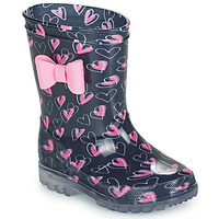 Chaussures Fille Bottes de pluie Be Only LOVANA FLASH Rose / Marine