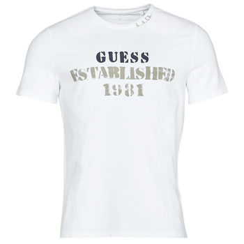 Vêtements Homme T-shirts manches courtes Guess WORKFOR CN SS TEE Blanc
