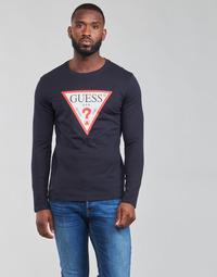 Vêtements Homme T-shirts manches longues Guess CN LS ORIGINAL LOGO TEE Marine