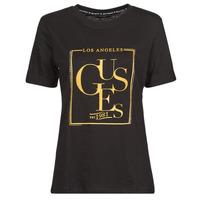 Vêtements Femme T-shirts manches courtes Guess SS CN SIMONNE TEE Noir