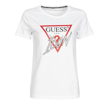 Vêtements Femme T-shirts manches courtes Guess SS CN ICON TEE Blanc