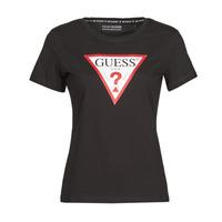 Vêtements Femme T-shirts manches courtes Guess SS CN ORIGINAL TEE Noir