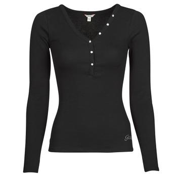 Vêtements Femme T-shirts manches longues Guess ES LS V NECK LOGO HENLEY TEE Noir