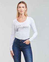 Vêtements Femme T-shirts manches longues Guess LS CN RAISA TEE Blanc