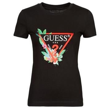 Vêtements Femme T-shirts manches courtes Guess SS CN NORA TEE Noir
