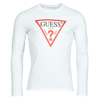 Vêtements Homme T-shirts manches longues Guess CN LS ORIGINAL LOGO TEE Blanc
