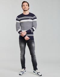 Vêtements Homme Pulls Guess LONDON EMBOSSED STRIPED CN Marine / Blanc