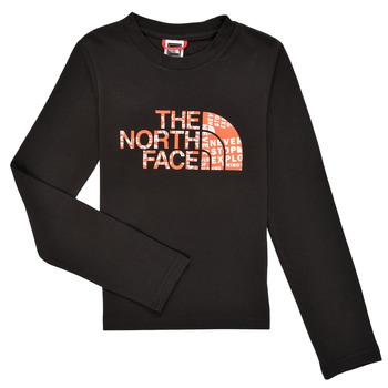 Vêtements Garçon T-shirts manches longues The North Face EASY TEE LS Noir