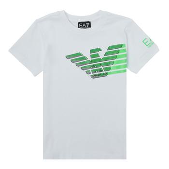 Vêtements Garçon T-shirts manches courtes Emporio Armani EA7 THAMIA Blanc / Vert