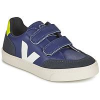 Chaussures Enfant Baskets basses Veja SMALL V-12 VELCRO Bleu / Blanc