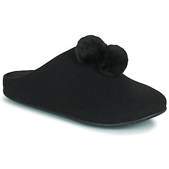 Chaussures Femme Chaussons FitFlop CHRISSIE POM POM SLIPPERS Noir