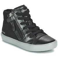 Chaussures Fille Baskets montantes Geox GISLI Noir / Argenté