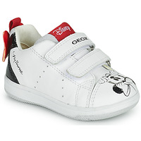 Chaussures Fille Baskets basses Geox NEW FLICK Blanc / Noir / Rouge