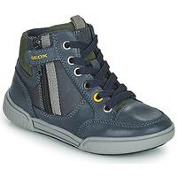 Chaussures Garçon Baskets montantes Geox POSEIDO Marine / Vert