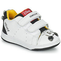 Chaussures Garçon Baskets basses Geox NEW FLICK Blanc / Noir / Rouge